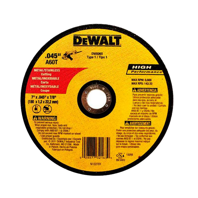DISCO CORTE METAL DEWALT 7x.045x7/8 - Inatecsa - Tienda de